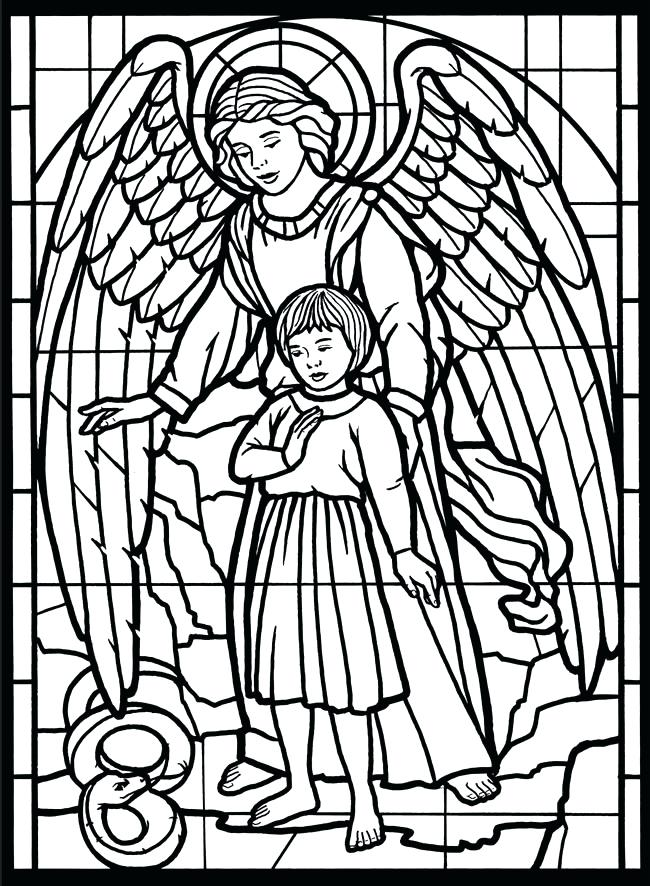 650x886 Stained Glass Coloring Pages For Adults Free Printable Stained