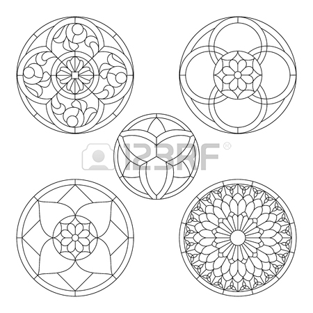 450x450 Stained Glass Templates, Round Elements For Stained Glass Windows