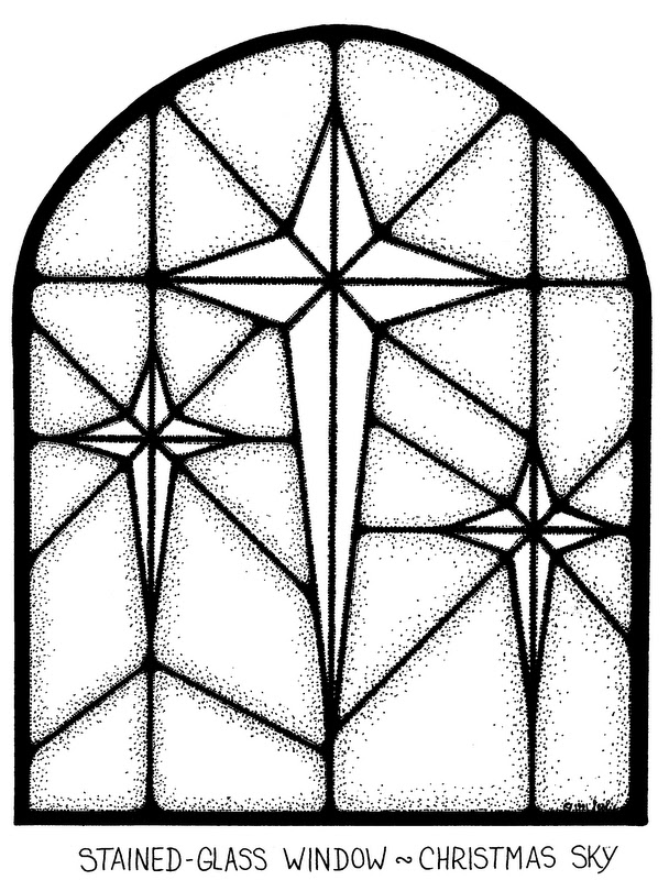 608x800 Stained Glass Window Coloring Page