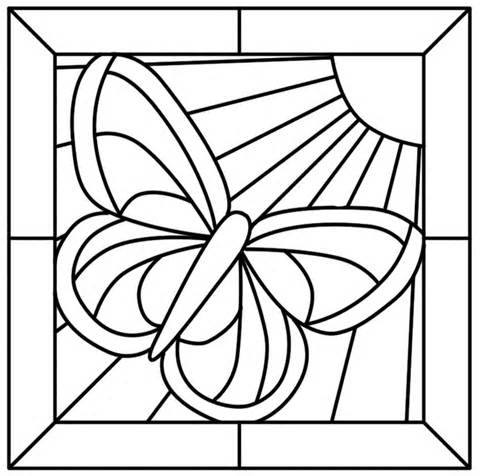 480x476 Stained Glass Window Colouring Coloring Pages 224