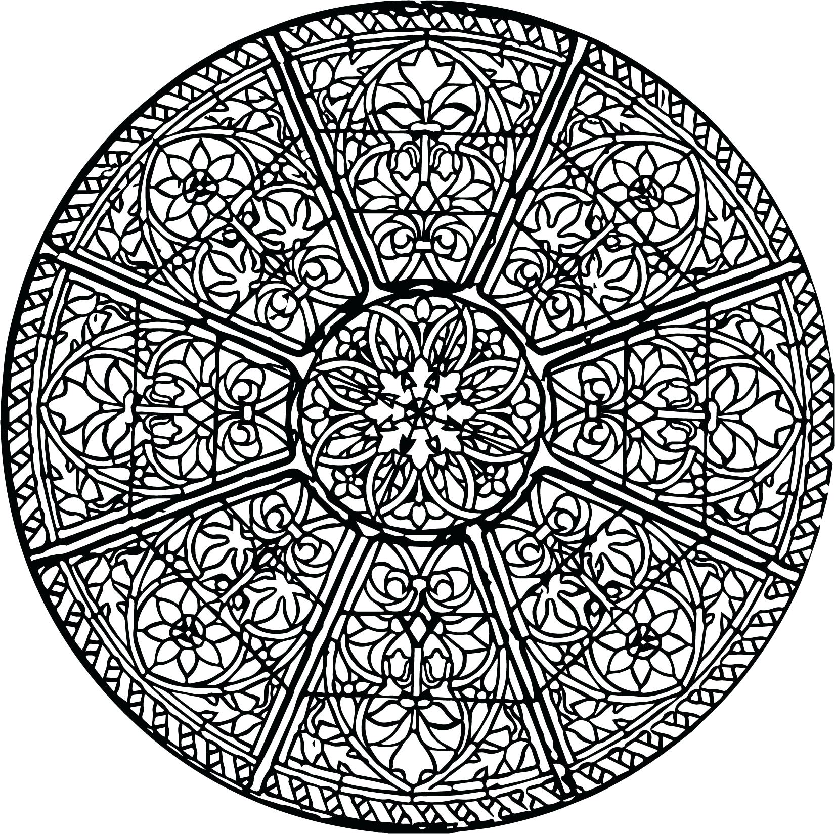 1651x1650 Coloring Stained Glass Window Coloring Pages Circular Church Page