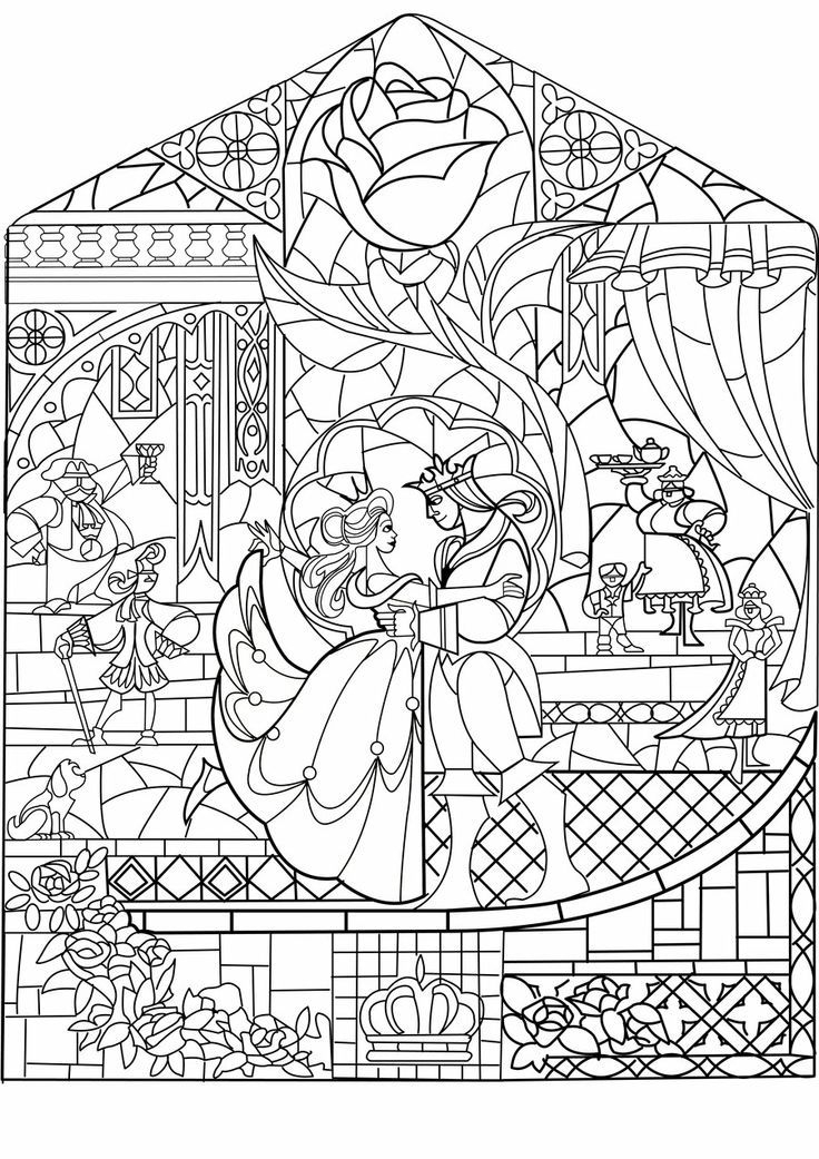 736x1041 Beauty And The Beast Stained Glass Coloring Page