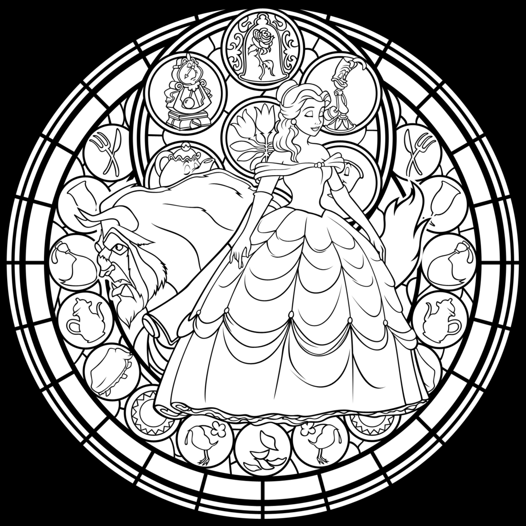 1024x1024 Beauty And The Beast Stained Glass Coloring Page Collection