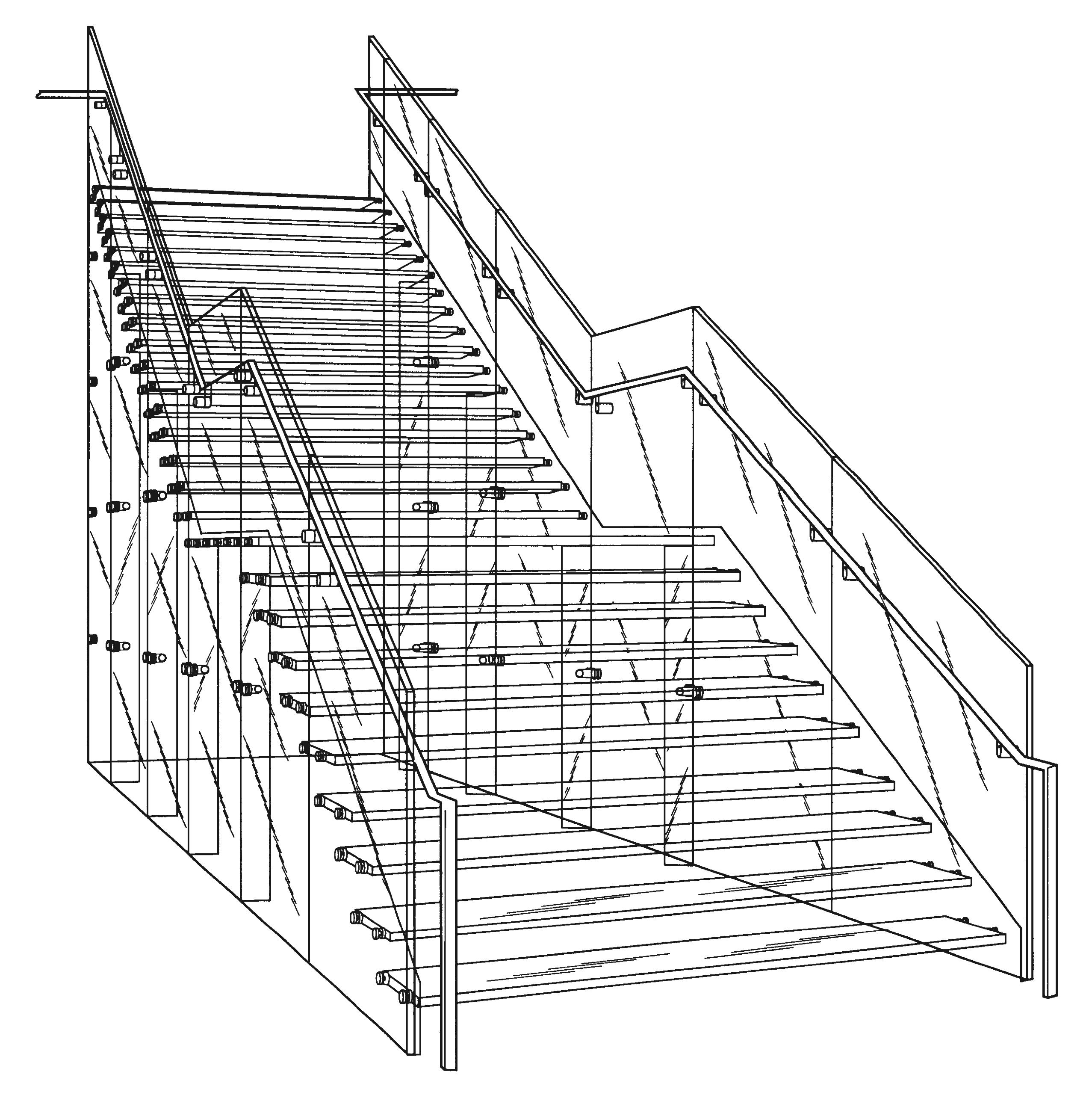 2554x2574 Great Staircase Drawing With Modern Stainless Steel Railing