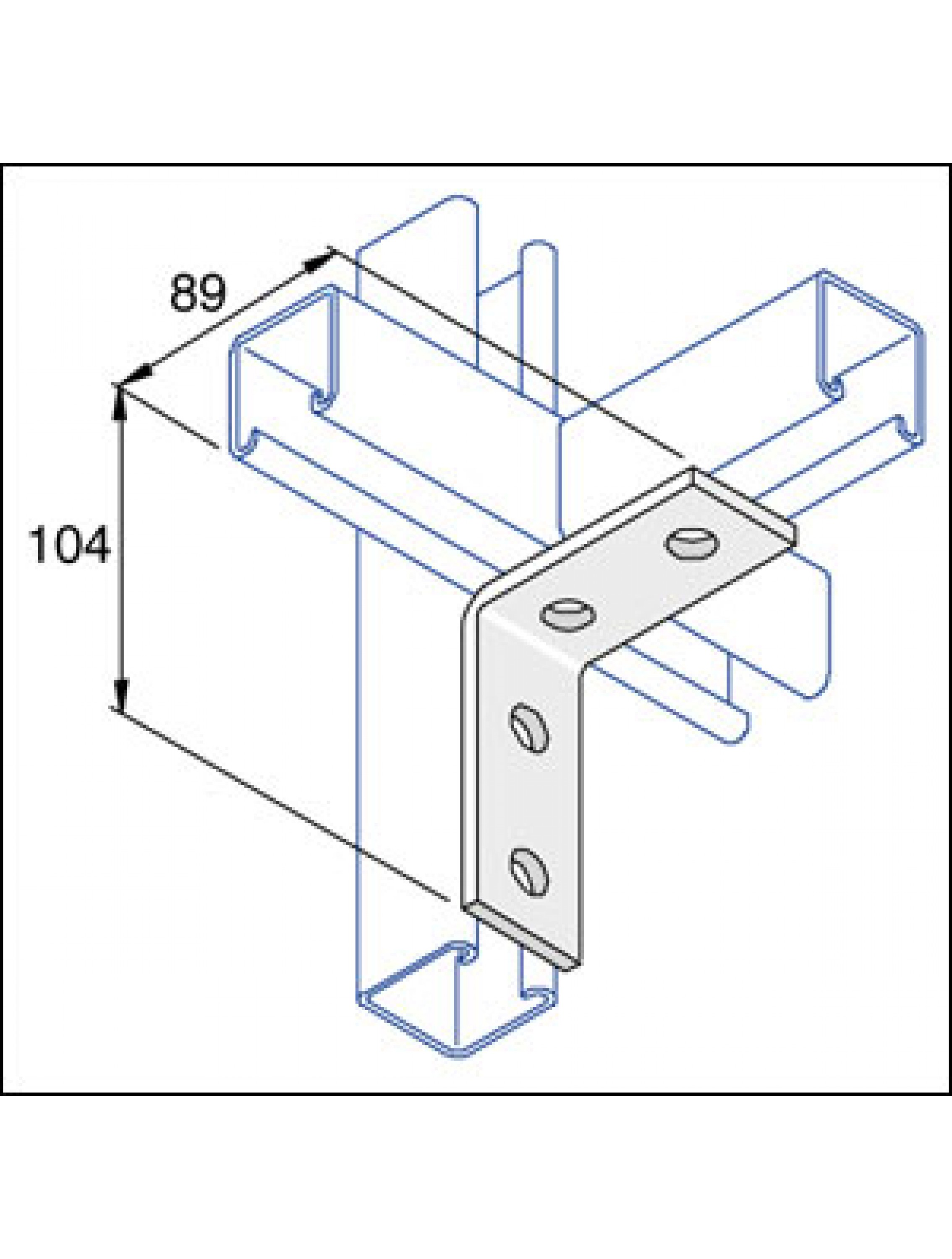 2268x3000 Unistrut 90 Degree Angle Bracket 2 Hole Stainless Steel 316