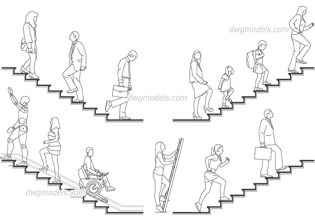 1080x760 People On The Stairs Cad Blocks, Autocad File Download