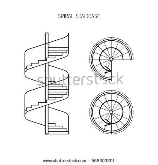 555x580 Spiral Staircase Drawing Art Stair Design