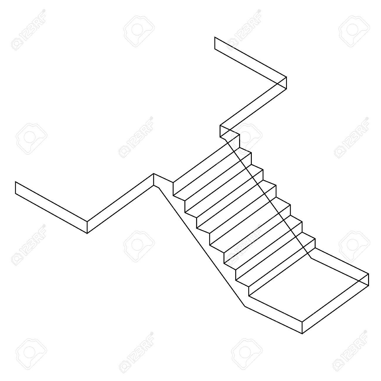 1300x1300 Drawing Of A Reinforced Cement Concrete Stair Royalty Free