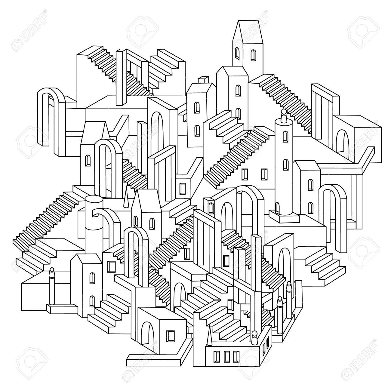 1300x1300 Drawing Of A Non Existent Unreal City Maze With Houses, Walls