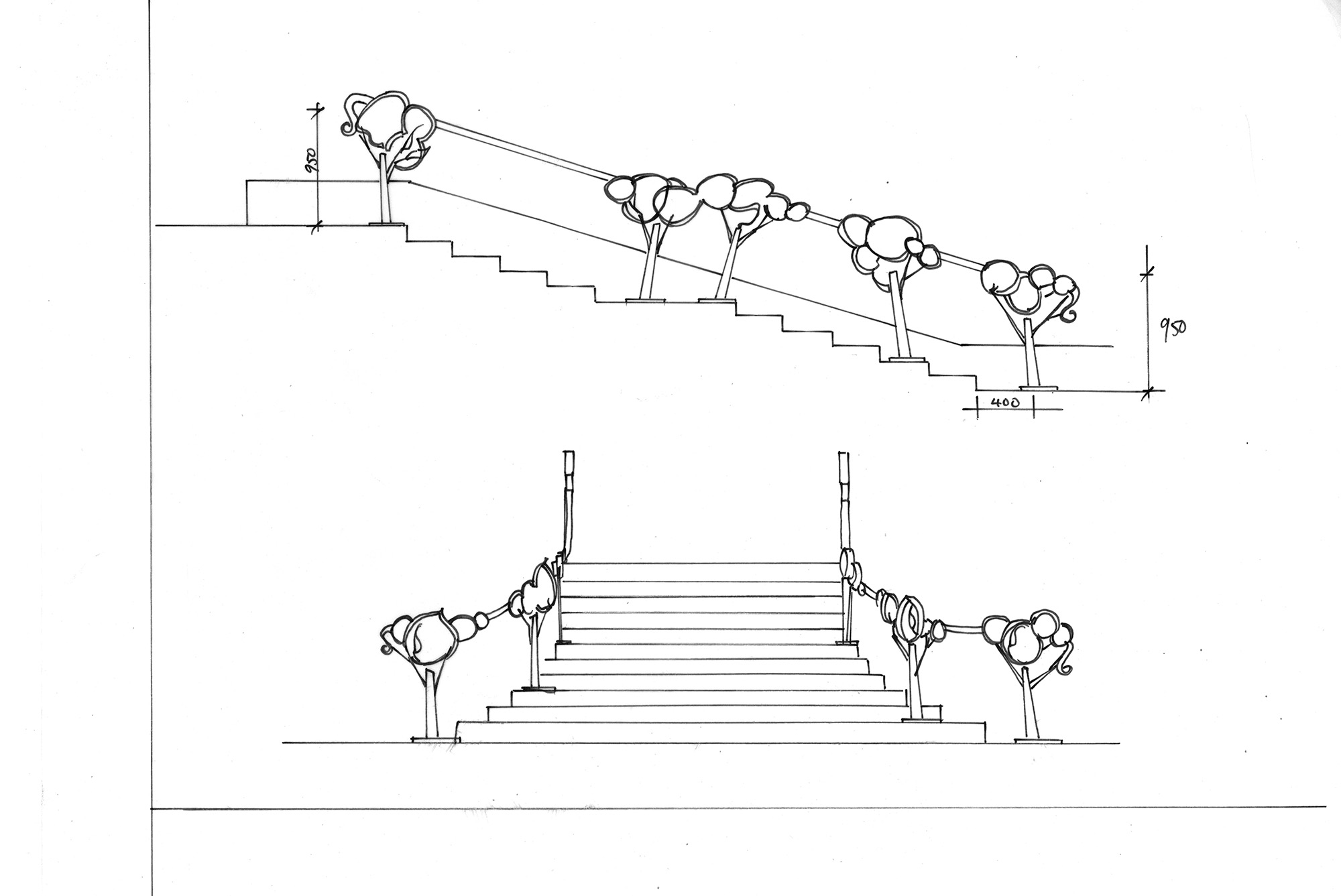 2000x1337 Bent Metal Concept Sketch. Entrance Stairs. Circa.