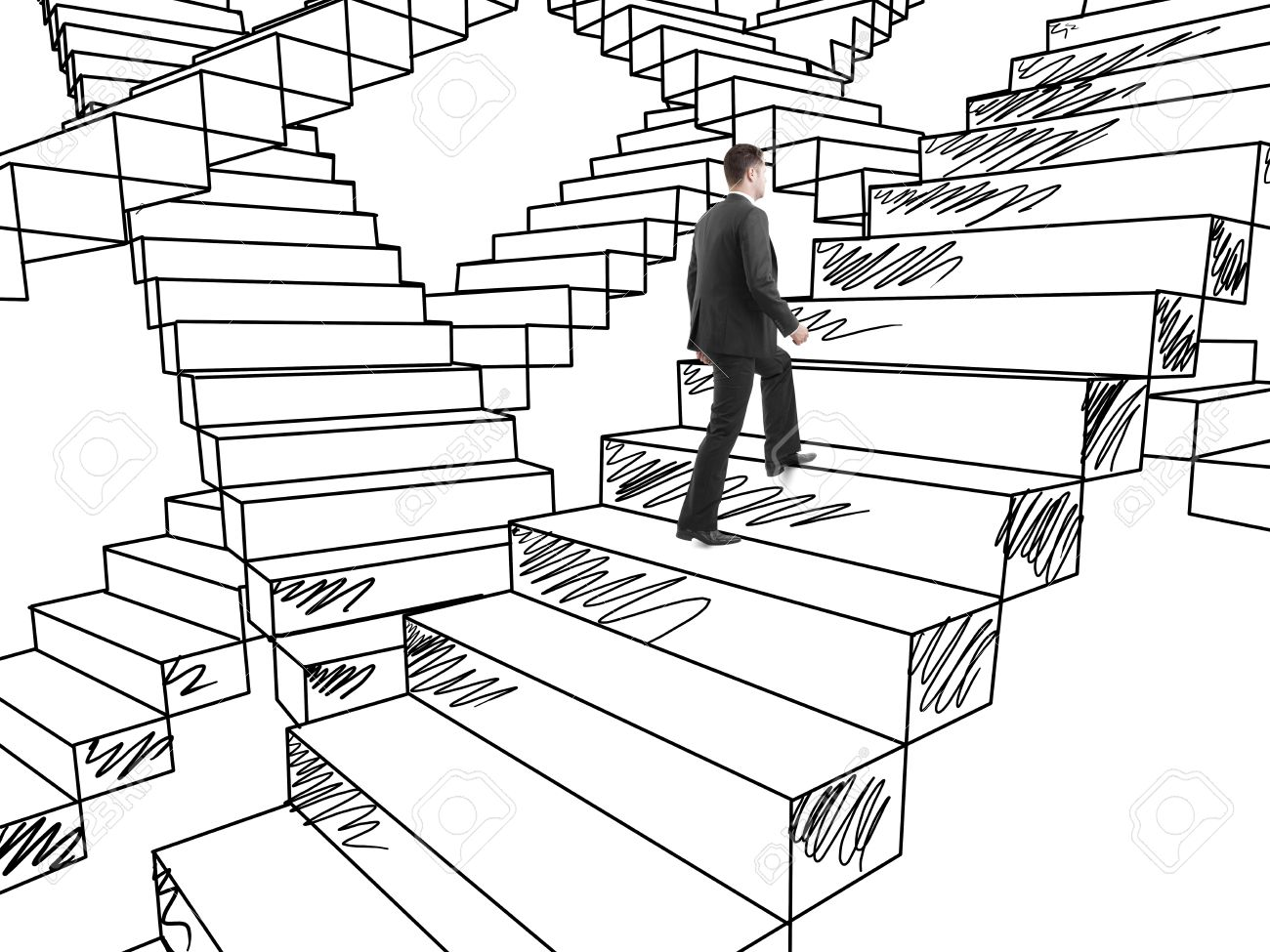 1300x975 Businessman In Suit Climbing On Drawing Stairs Stock Photo