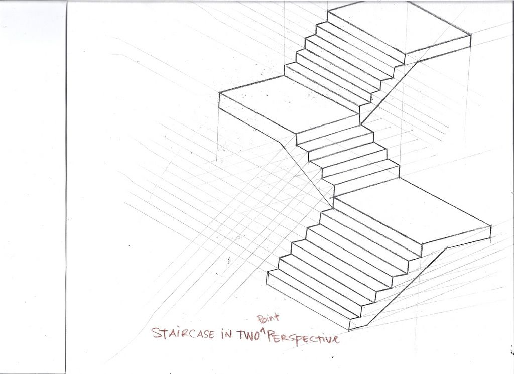 1024x745 Drawn Stairs Point Perspective Stair Design