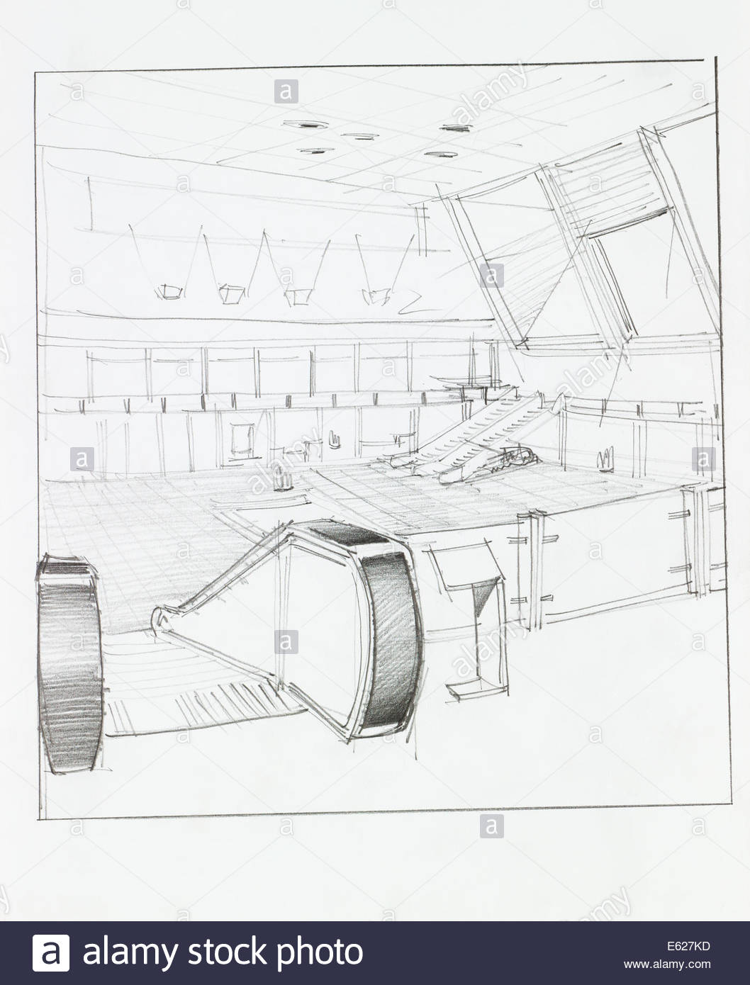 1058x1390 Architectural Perspective Of Interior Airport With Electrical