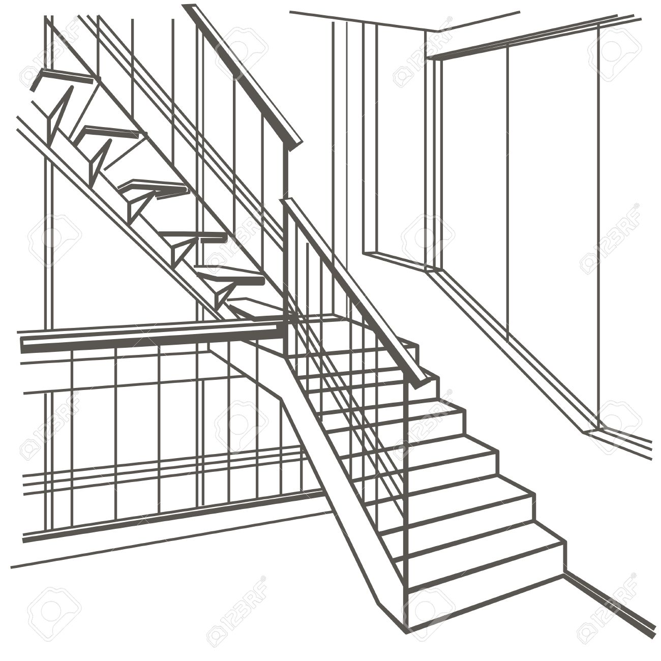 1300x1300 Linear Architectural Sketch Interior Stairs On White Background