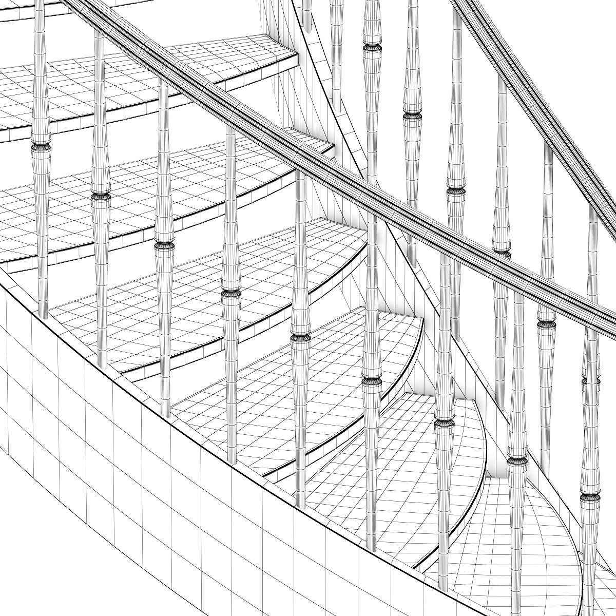 1200x1200 Wooden Spiral Stairs 6 3d Model In Stair 3dexport