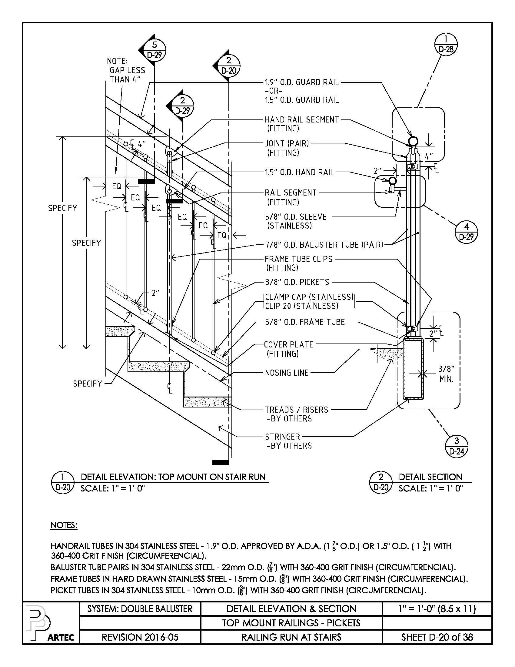 1700x2200 Double Baluster Railing Details Amp Specs Amp Revit Details