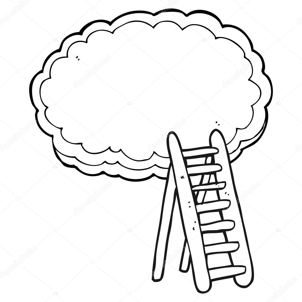 1024x1024 Black And White Cartoon Ladder To Heaven Stock Vector