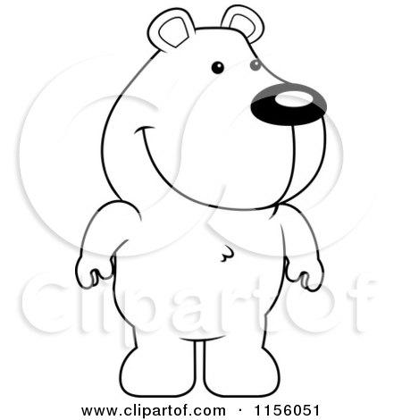 450x470 Cartoon Clipart Of A Black And White Cute Standing Bear