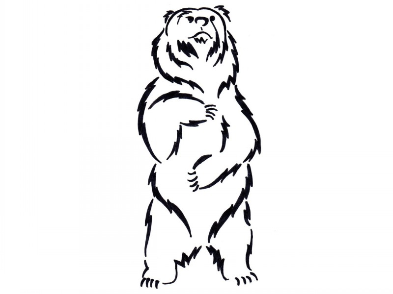 800x600 Funny Black And White Standing Bear Tattoo
