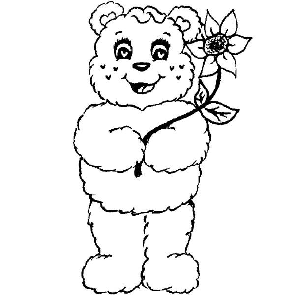 600x600 Purple Daisy Design F 895 Standing Teddy Bear With Flowers