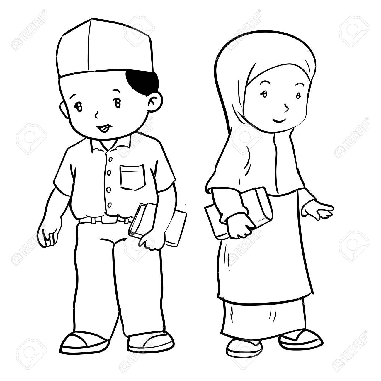 1300x1300 Hand Drawing Of Muslim Kids Standing Isolated On White Background