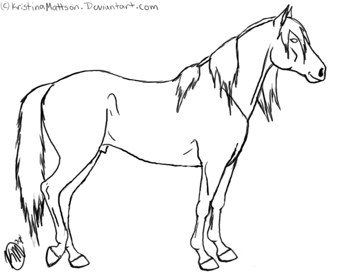 680x550 Standing Horse Lineart By Abiadura