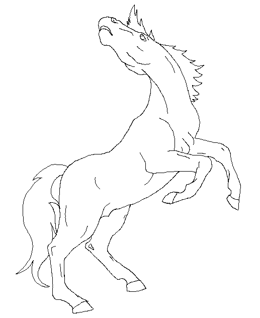 517x632 Standing Horse Lineart By 3naito3