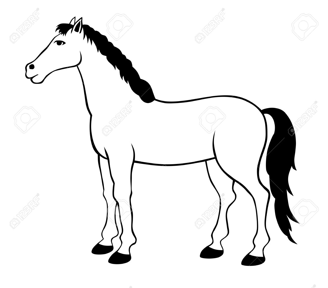1300x1140 Vector Illustration Of Standing Horse Silhouette Royalty Free