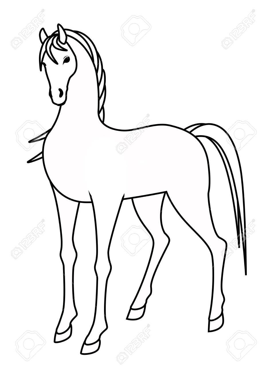 928x1300 Drawing Of A Horse Standing Stock Photo, Picture And Royalty Free