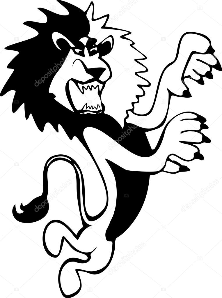 763x1023 Harsh And Angry, Hand Drawn, Black And White Lion Full Length