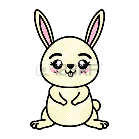 450x450 Isolated Cute Standing Rabbit Icon Vector Illustration Graphic