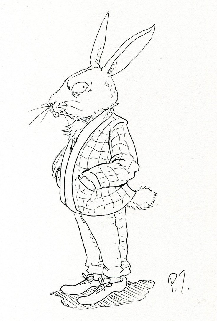 736x1086 Anthropomorphic Rabbit (Line Art) By Pisomets