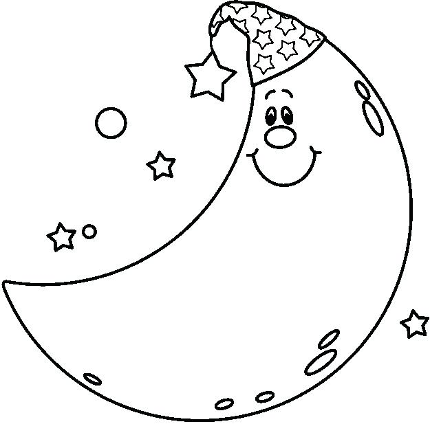 625x617 Moon And Stars Coloring Pages Free Moon Star Coloring Pages Moon