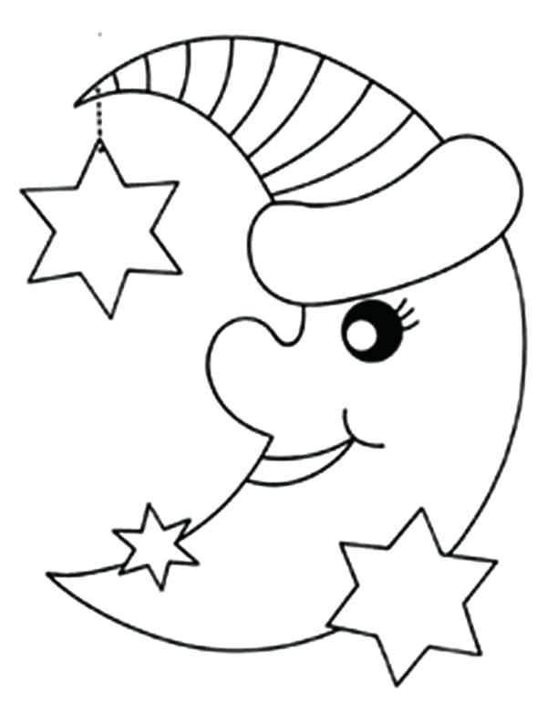 600x782 This Is Stars Coloring Pages Images Moon And Her Stars Coloring