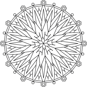 300x300 Starburst Flower Mandala' Is A Traditional Style Circular Mandala