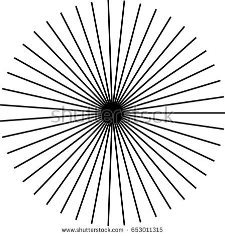 449x470 Sunburst, Starburst Shape Black On White. Rays, Beams Design