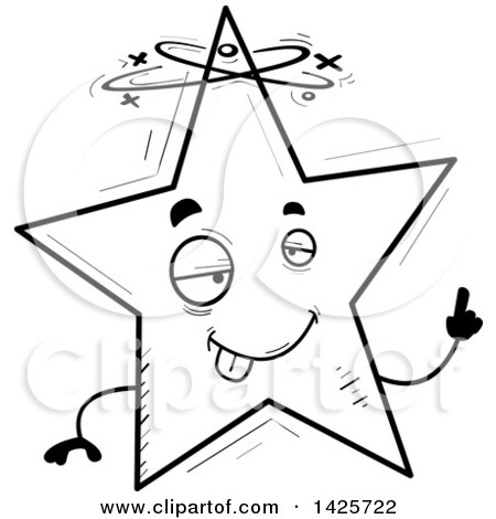 450x470 Clipart Of A Cartoon Black And White Doodled Drunk Star Character