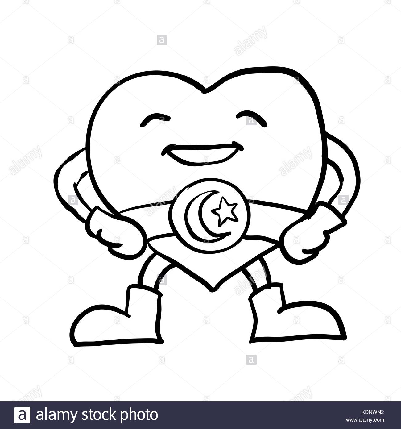 1300x1390 Hand Drawing Of Cartoon Smiling Heart With Crescent Star On Belt