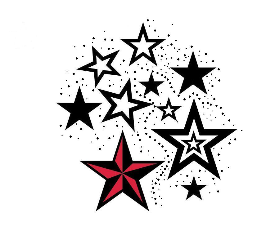 828x729 Red Nautical Star And Stars Tattoos Design