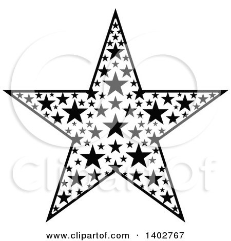 450x470 Clipart Of A Black And White Star Design