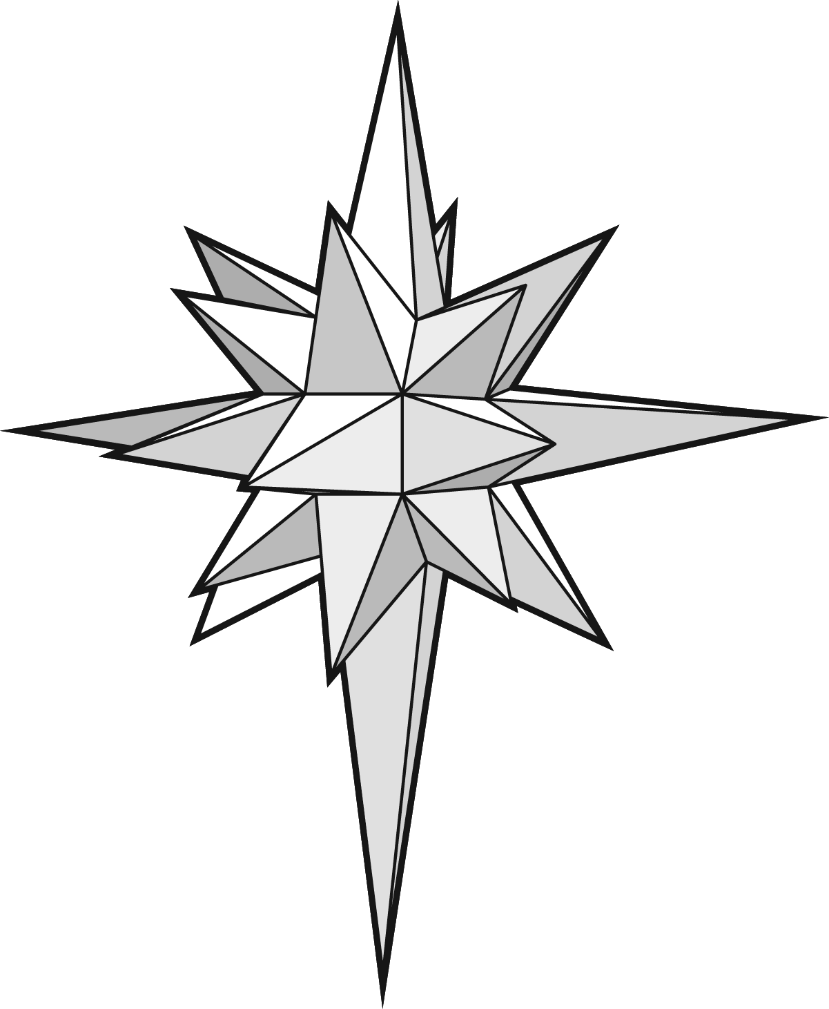 1201x1461 26 Point 3d Paper Star Of Bethlehem Pattern And Instructions