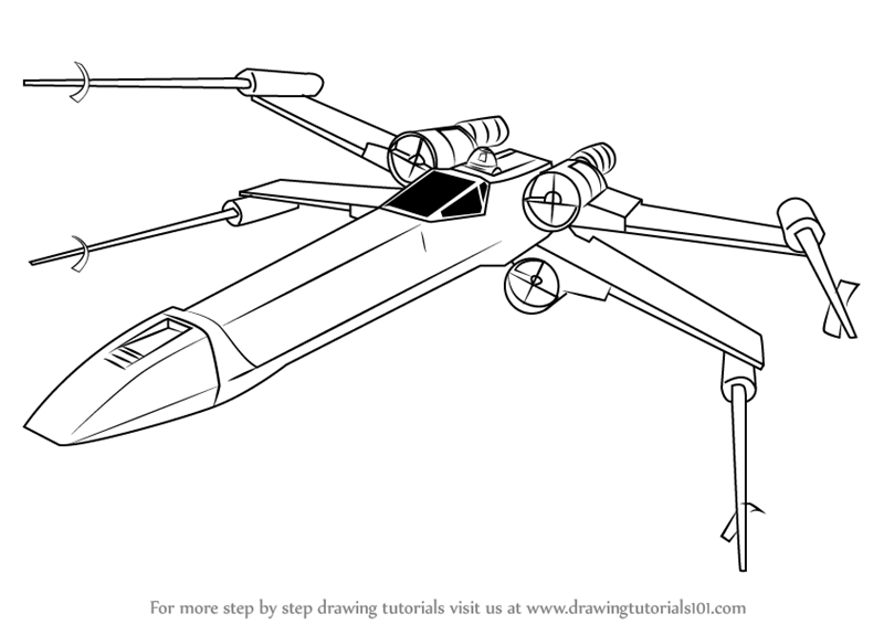 800x566 Learn How To Draw X Wing Fighter From Star Wars (Star Wars) Step