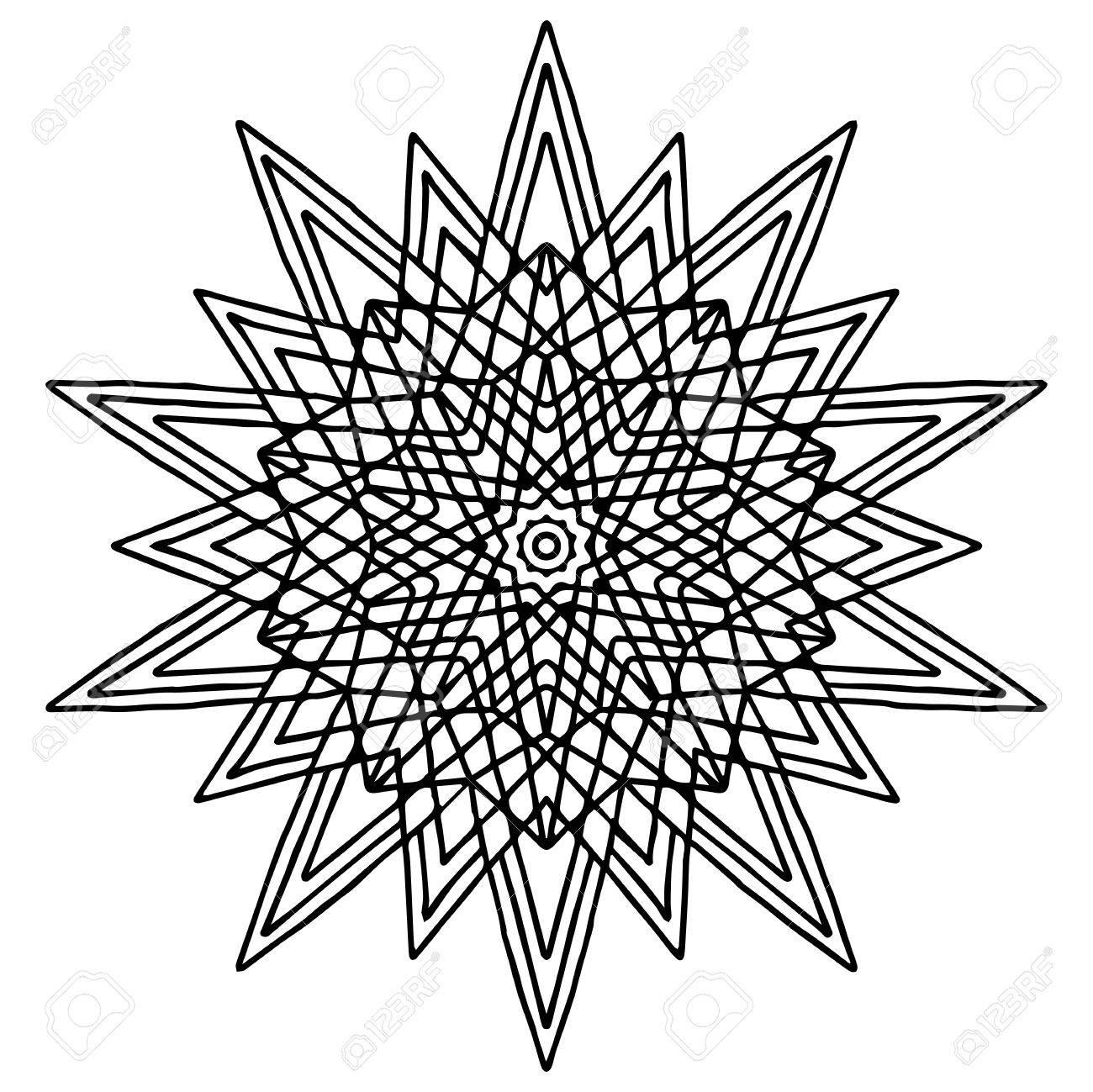 1300x1299 Christmas Hand Drawing Doodling Star Mandala Coloring Page