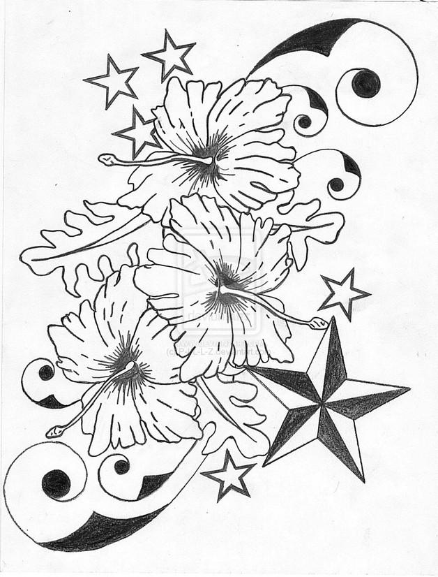 628x826 Hibiscus Flower N Nautical Star Tattoo Designs