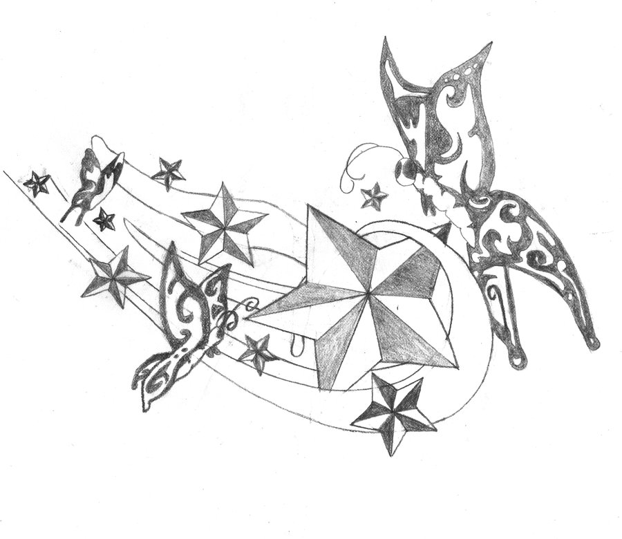 900x780 Stars And Butterflies Tattoo Design By Breakaway13