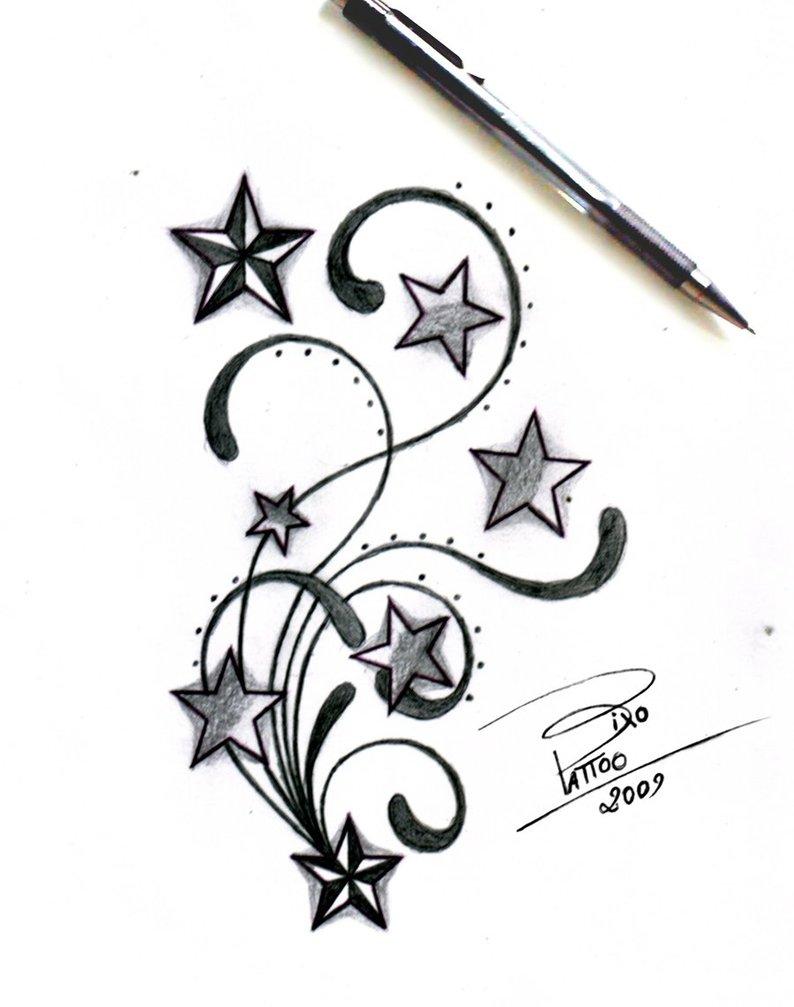 794x1007 Stars And Swirls Tattoo Design Sketches By Bixotattoo (