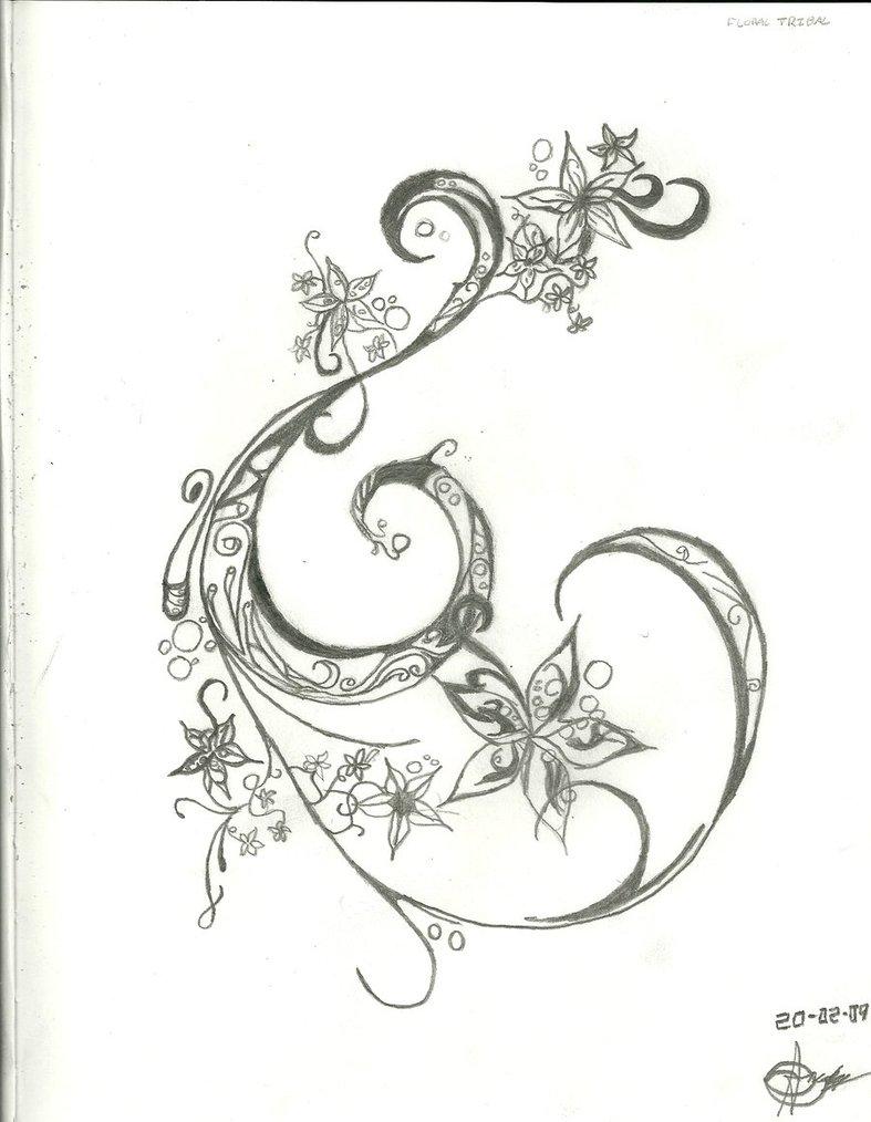 787x1014 Swirl And Flower Tattoo Design