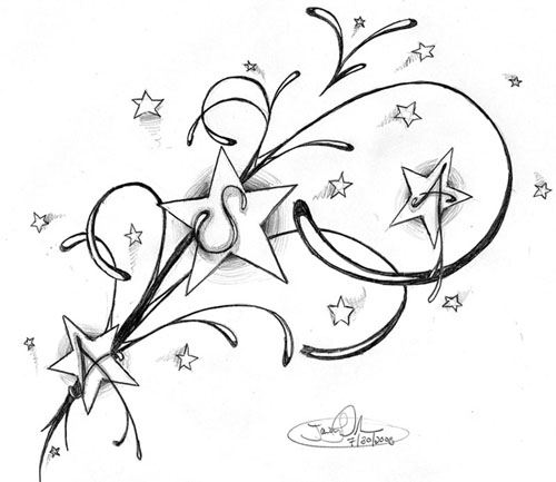 500x433 Swirls And Shooting Stars Tattoos New Star Designs For Your