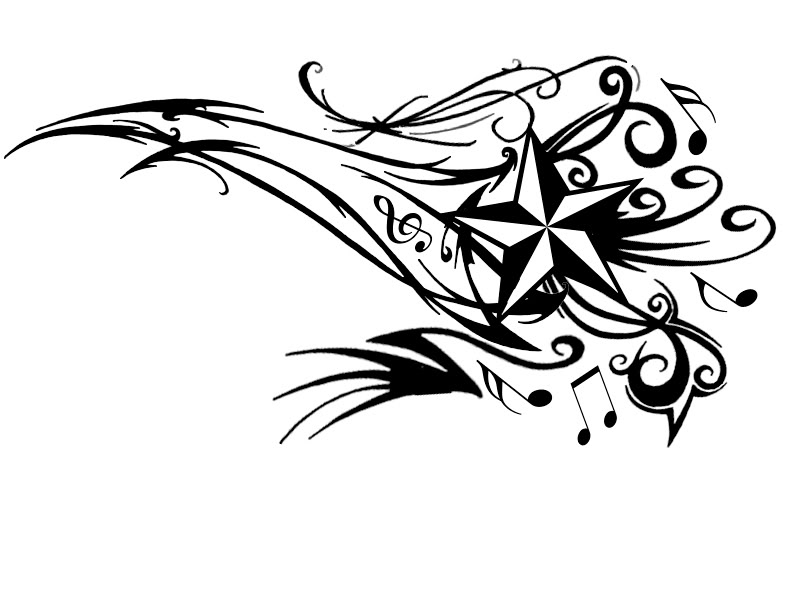 800x600 Young Guns Tattoo Concept Star With Musical Notes Tattoo Design