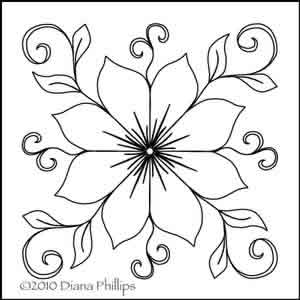 300x300 Diana's Star Flower Diana Phillips Digitized Quilting Designs